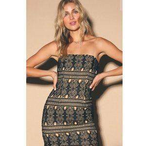 Adara Black Lace Crochet Mini Dress